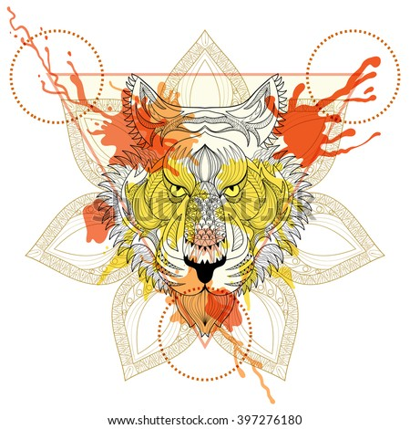Zentangle stylized Tiger in triangle frame with watercolor ink drop. Hand Drawn doodle vector tiger face illustration. Sketch for tattoo or makhenda. Hipster artistically patterned animal print. - stock vector