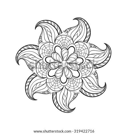 Indian Tribal Coloring Pages. Zentangle stylized tribal Arabic  Indian Mandala Rangoli for adult coloring page Hand drawn Stylized Tribal Stock Vector