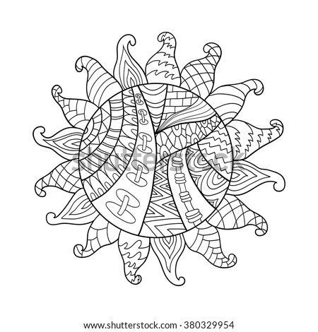 Zentangle sun vector symbol silhouette. Tribal doodle ornament. Hand drawn sign isolated on white.  Black and white ethnic pattern for coloring book adult. - stock vector