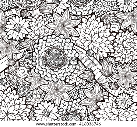 Zentangle Tattoo Floral Background Boho Pattern Stock Vector 416036746