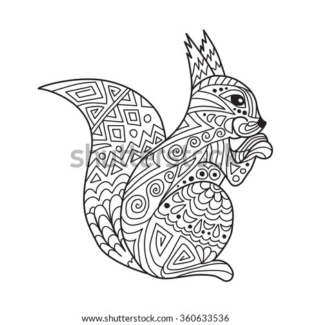Zentangle The Baikal Squirrel For Adult Anti Stress Coloring Page Art Therapy Illustration In