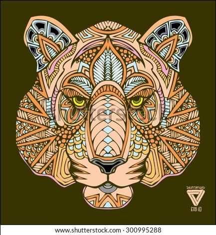 zentangle tiger vector illustration - stock vector