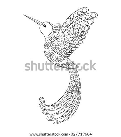 Zentangle Tribal Hummingbird Flying Bird Totem Stock Vector (Royalty ...
