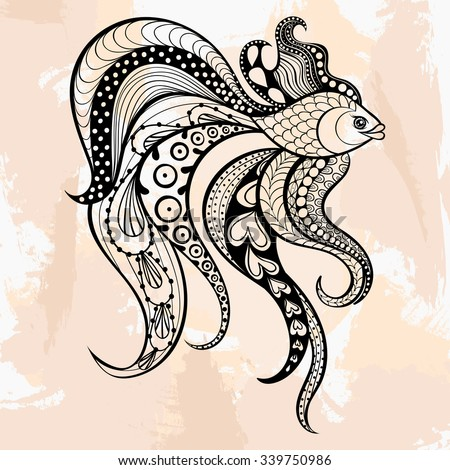 Zentangle Vector Gold Fish For Tattoo In Hipster Style Ornamental Tribal Patterned Illustration Adult