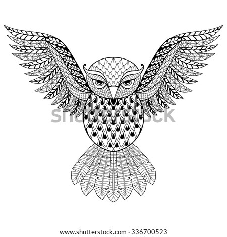 Zentangle vector Owl for adult anti stress coloring pages. Ornamental tribal patterned illustration for tattoo, poster or print. Hand drawn monochrome sketch. Bird, animal collection.