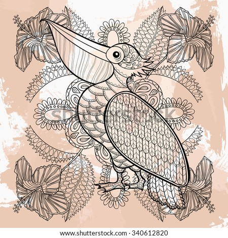 Zentangle vector Pelican in hibiskus flowers, tattoo design. Ornamental tribal patterned illustration for adult anti stress coloring pages. Hand drawn black sketch isolated on grunge background. - stock vector