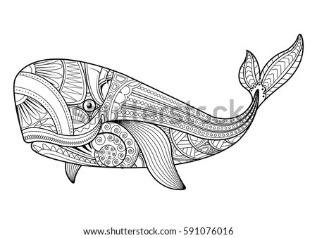 Zentangle Vector Whale Adult Anti Stress Stock Vector