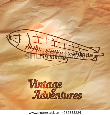 Zeppelin, vector illustration in vintage style over old paper - stock vector