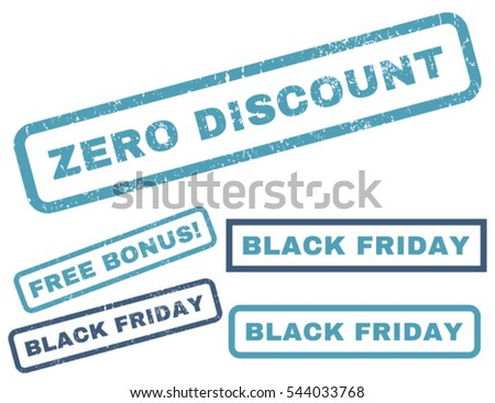 Zero Discount rubber seal stamp watermark with additional images for Black Friday sales. Vector cyan and blue stickers. Text inside rectangular banner with grunge design and unclean texture.