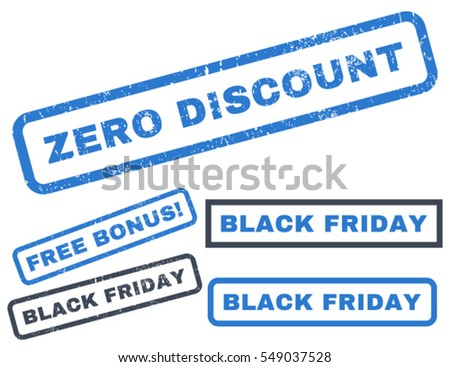 Zero Discount rubber seal stamp watermark with bonus design elements for Black Friday offers. Vector smooth blue stickers. Text inside rectangular shape with grunge design and scratched texture.