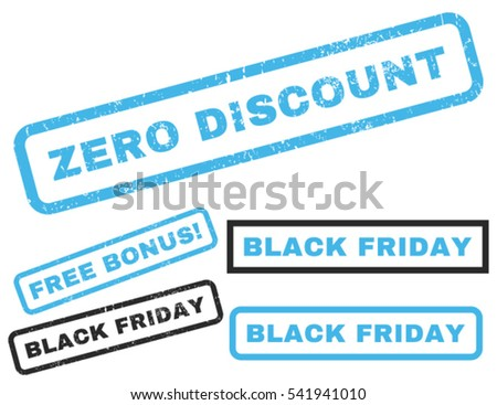 Zero Discount rubber seal stamp watermark with bonus images for Black Friday sales. Vector blue and gray stickers. Text inside rectangular shape with grunge design and dust texture.
