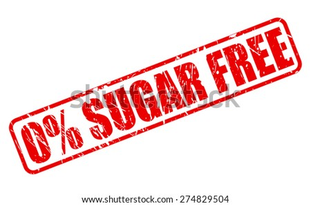 Zero percent sugar free red stamp text on white - stock vector
