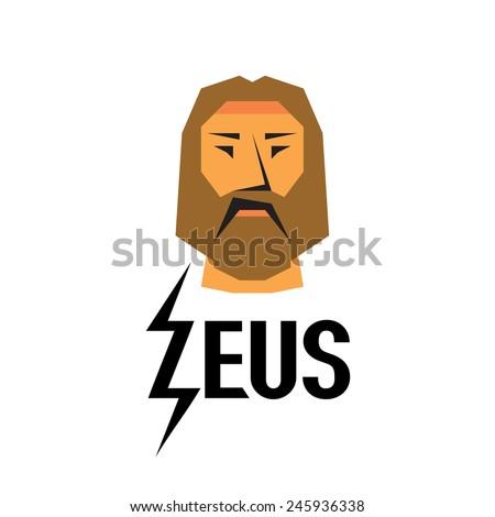 Zeus head logo with type - stock vector