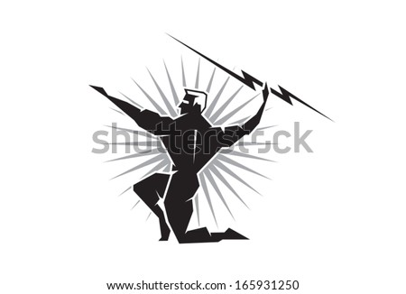Zeus throwing a bolt of lightning - stock vector