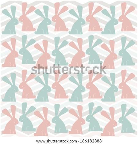 zig zag background with bunny rabbits - stock vector