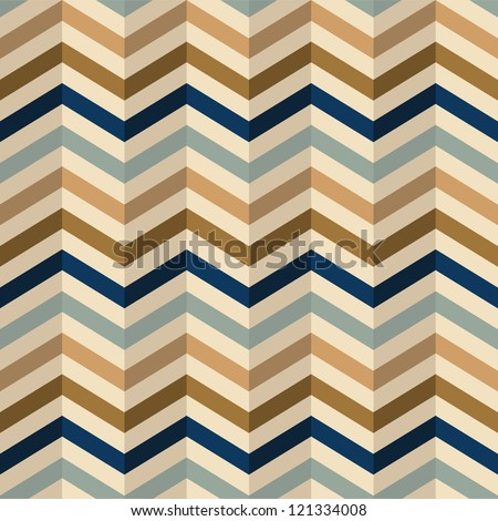 zigzag pattern in retro colors, seamless vector background - stock vector