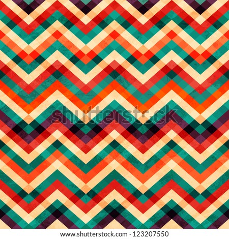 zigzag seamless pattern with grunge effect - stock vector
