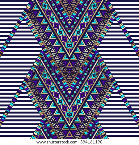 zigzag tribal Navajo vector seamless pattern with black and white stripes. aztec abstract geometric art print. ethnic hipster backdrop. Wallpaper, cloth design, fabric, paper, wrapping, textile, weave - stock vector