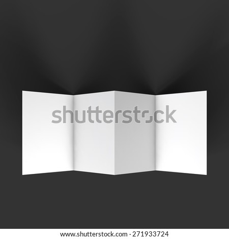 Zigzag white 4 page brochure mockup template. Top view. Presentation of your branding and identity design. Vector Illustration EPS10. - stock vector