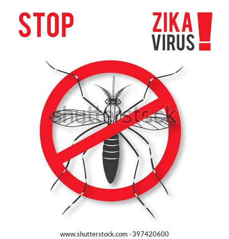 Zika alert banner, poster, flyer with aegypti aedes mosquito. Aegypti. Forbidden, no mosquito sign. High quality graphic design elements, isolated on a white background with shadow. Healthcare concept - stock vector