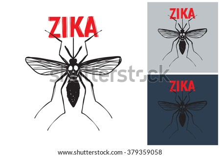 Zika mosquito vector image. Picture with zika mosquito. Symbolic zika mosquito. Vector zika mosquito logo. Label with zika mosquito. Attention zika mosquito - stock vector