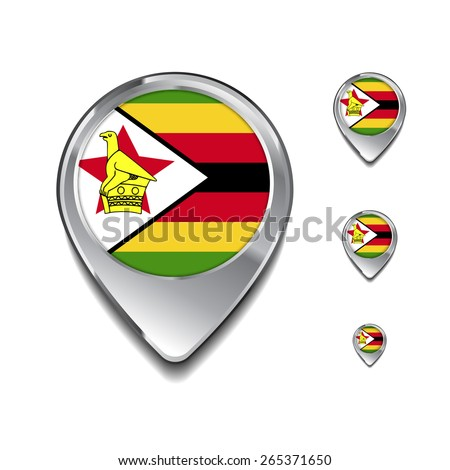 Zimbabwe flag map pointer. 3d Map Pointer with flag glossy button style on gray background - stock vector