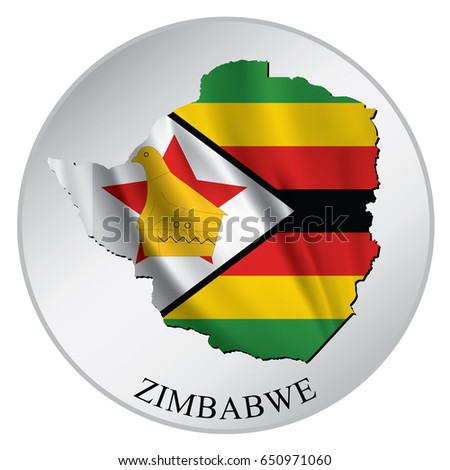Zimbabwe vector sticker with flag and map label round tag with country name