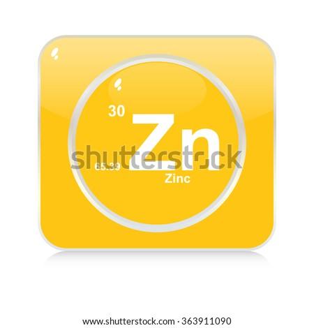 zinc chemical element button - stock vector