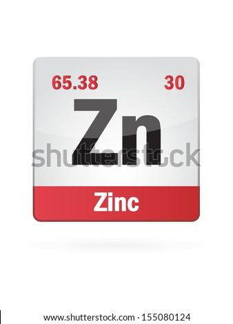 Zinc Symbol Illustration Icon On White Background - stock vector