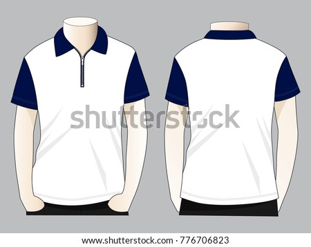 Zip-up polo shirt (White/Navy blue)