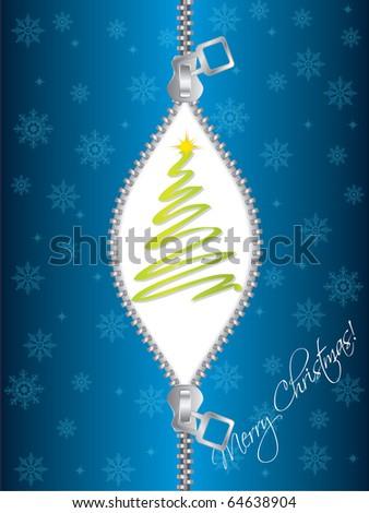 Zipped christmas greeting - stock vector