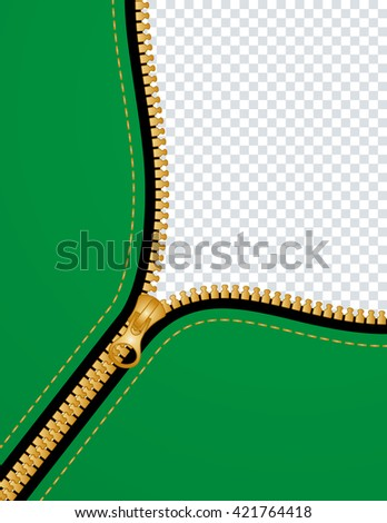 zipper background with copy space - stock vector