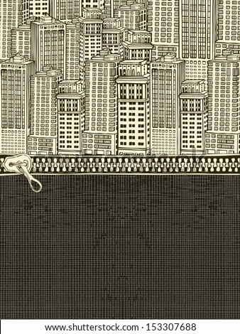 Zipper on the city's suburb. - stock vector