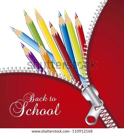 zipper over colored pencils, back to school. vector illlustration - stock vector