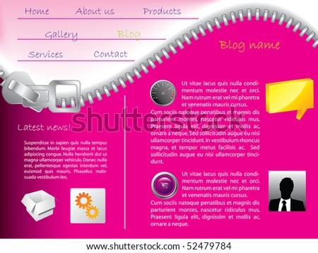 Zipper website template - stock vector