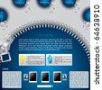 Zippered website template design in blue - stock vector
