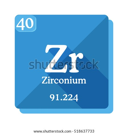 zirconium zr element of the periodic table flat icon with long shadow - Periodic Table Zr