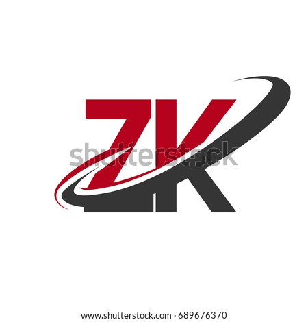 Zk Initial Logo Company Name Colored Stock Vector Hd Royalty Free