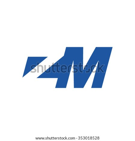 ZM negative space letter logo blue