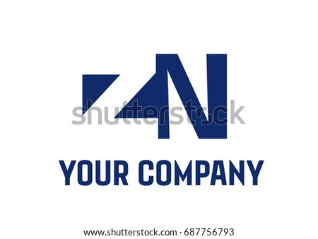 ZN  Negative Space Square Swoosh Letter Logo