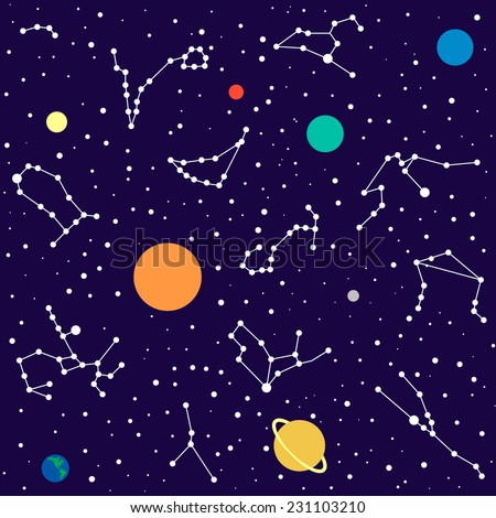Zodiac and planet seamless pattern with stars - stock vector