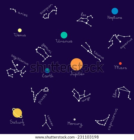 Zodiac and planet set seamless pattern with signature - stock vector