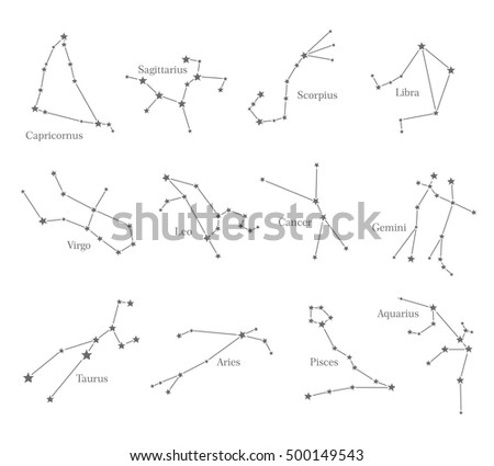 Zodiac Astrological Sign Symbols Isolated On Stock Vector 500149543