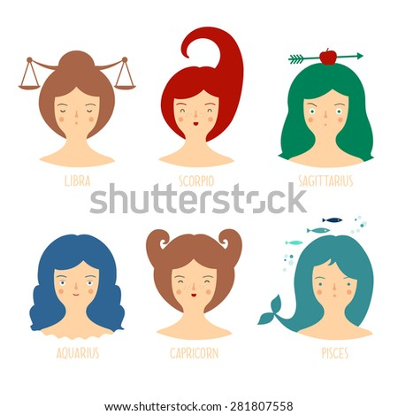 Zodiac astrological signs vector set for horoscope with cute girls faces. Part 1 - stock vector