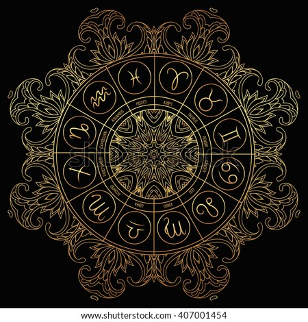 Zodiac circle with horoscope signs. Hand drawn illustration - stock vector