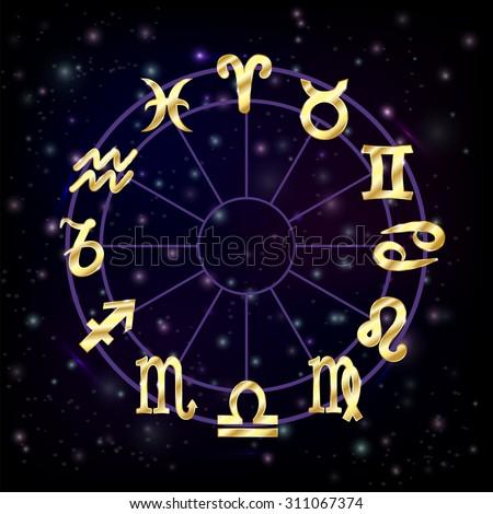 Zodiac circle with horoscope signs pisces scorpio aquarius zodiak aries virgo Vector illustration - stock vector
