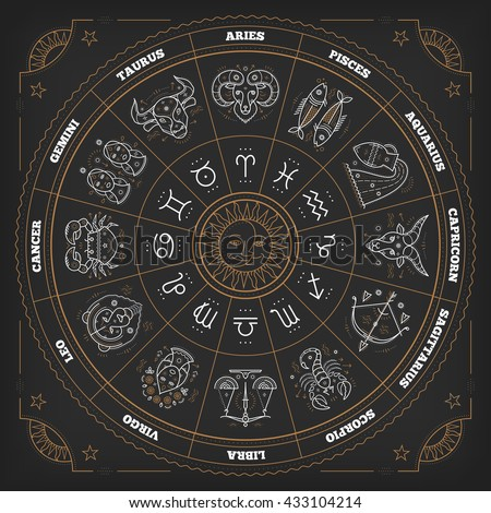 Zodiac circle with horoscope signs. Thin line vector design. Astrology symbols and mystic signs. - stock vector