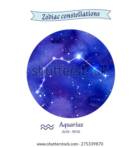Zodiac constellation. Aquarius. The Water-bearer. Vector illustration - stock vector