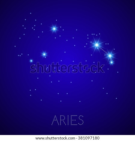 Zodiac Constellation Aries. Realistic star map fragment. Vector illustration