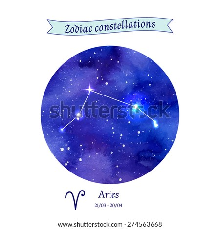Zodiac constellation. Aries. The Ram. Vector illustration - stock vector